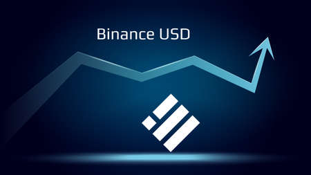 Binance USD BUSD in uptrend and price is rising. Cryptocurrency coin symbol and up arrow. Flies to the moon. Vector illustration.