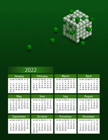 Vertical futuristic yearly calendar 2022 with blockchain cubes, week starts on Sunday. Annual big wall calendar colorful modern illustration in green. A4 Us letter paper size.