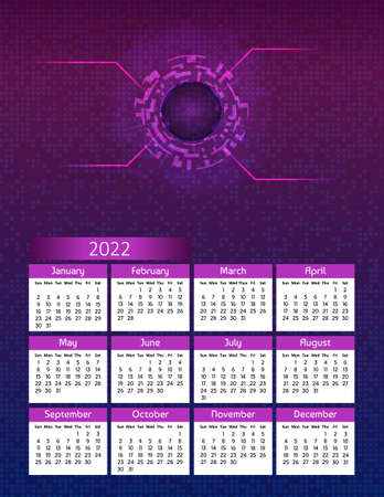Vertical futuristic yearly calendar 2022 digital technology theme, week starts on Sunday. Annual big wall calendar colorful modern illustration in purple. A4 Us letter paper size. Illustration