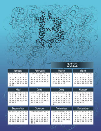 Vertical futuristic yearly calendar 2022 with Bitcoin cryptocurrency theme, week starts on Sunday. Annual big wall calendar colorful modern illustration in blue. A4 Us letter paper size. Illustration