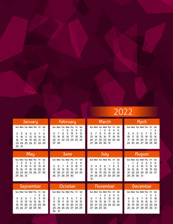 Vertical futuristic yearly calendar 2022, week starts on Sunday. Annual big wall calendar colorful modern polygonal illustration in red and orange. A4 Us letter paper size. Illustration