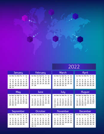 Vertical futuristic yearly calendar 2022 with world map and cubes, week starts on Sunday. Annual big wall calendar colorful modern illustration in blue. A4 Us letter paper size. Illustration