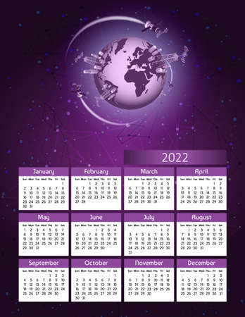 Vertical futuristic yearly calendar 2022 5g technology with satellites and planet earth, week starts Sunday. Annual big wall calendar colorful modern illustration in purple. A4 Us letter paper size. Standard-Bild