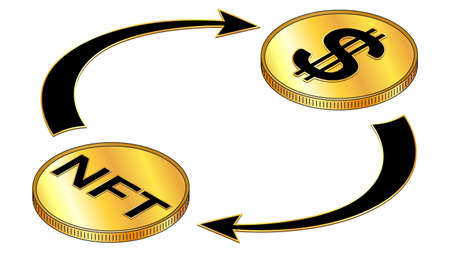 NFT and Dollar USD circulation isometric concept with black symbols on gold coins and cyclical arrows isolated on white. Rotation of non fungible tokens and money. Vector design element.