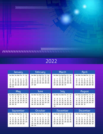 Vertical futuristic yearly calendar 2022 abstract digital theme, week starts on Sunday. Annual big wall calendar colorful modern illustration in blue. A4 Us letter paper size.
