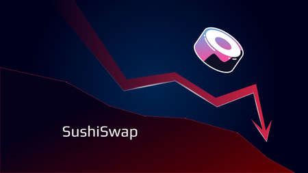 SushiSwap SUSHI in downtrend and price falls down. Cryptocurrency coin symbol and red down arrow. Token of Defi sector crushed and fell down. Cryptocurrency trading crisis. Vector illustration. Illustration
