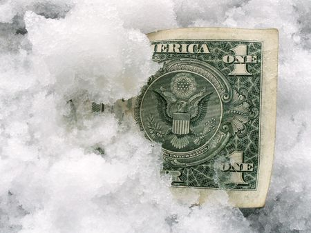 lost money: Banknote in snow
