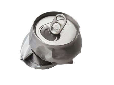 Empty and crumpled tin on white background
