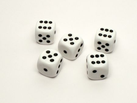 White dice on white background