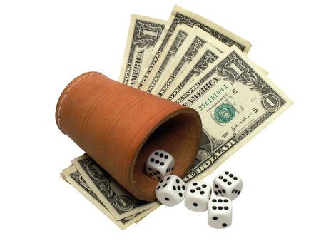 vehemence: Leather dice-box, dice and one dollar bills on white background Stock Photo