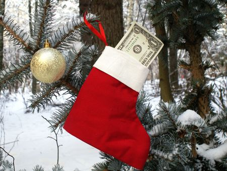 Christmas stocking with one dollar bill in winter forest Stock Photo - 2177393