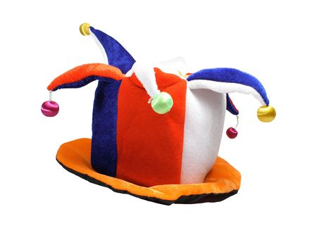 Multicoloured fools cap with jingles on white backround photo