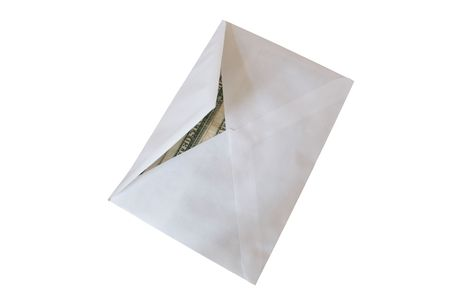 honorarium: Close up of paper envelope with money on white background