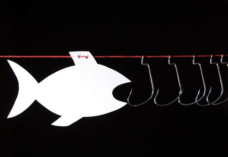 papery: White papery fish opposite fish-hooks hanging on red rope