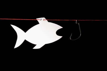 noteboard: White papery fish opposite fish-hook hanging on red rope