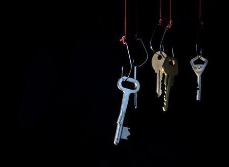 hypothec: Manifold keys hanging on red rope with fish-hooks on dark background