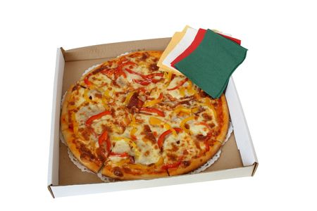 tissue paper: Fresh pizza lying in pasteboard box with colored tissue paper