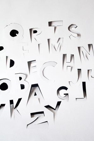 papery: Background with alphabet made from papery sheet