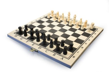 chessmen: Isolated wooden chessboard with chessmen on white background Stock Photo