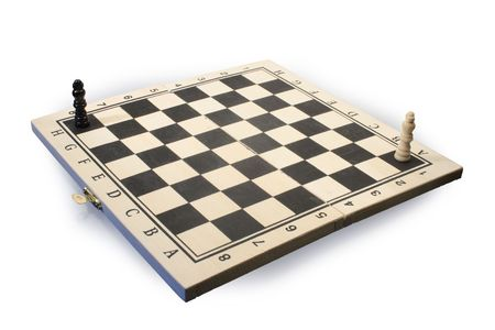 reverberation: Isolated wooden chessboard with two chessmen on white background