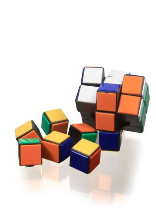 reverberation: Isolated block puzzle lying on glassy background with reverberation Stock Photo