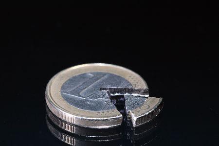 Fälschung Von Euro Münzen Und Münzen Ist Ein Teil Liegt Auf Einem