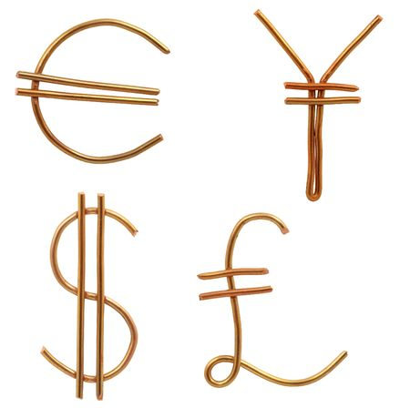 gb pound: World currency signs made from wire isolated on white