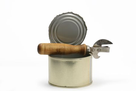 can opener: Opened canned food with can opener isolated on white background Stock Photo