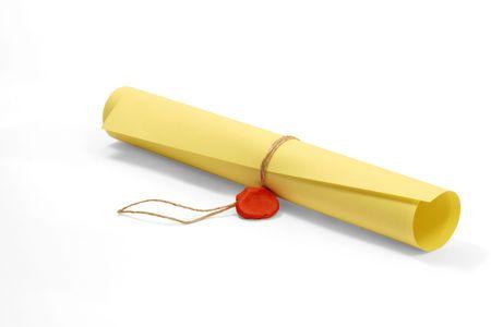 edicto: Rollo de papel amarillo de acuerdo con una cuerda y plastilina sello rojo