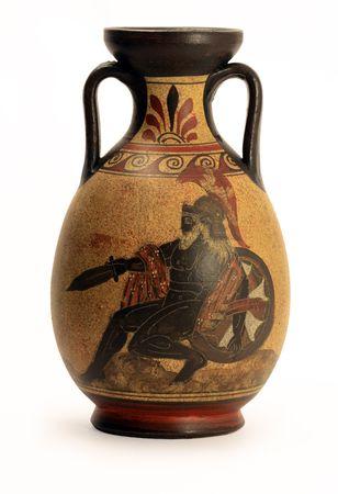 Souvenir exact copy of ancient greek vase isolated on white background photo