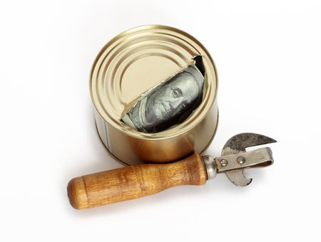 One hundred dollar's note inside opened tin and can opener isolated on white Stock Photo - 4476768