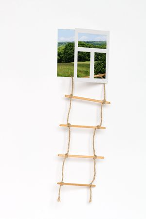 rope ladder: Isolated opened window for your changeable images and rope ladder