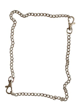 sequestration: Frame made from steel chain isolated on white background Stock Photo