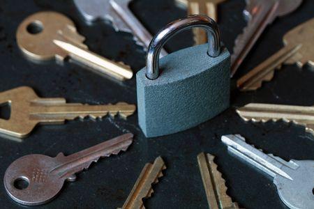 Pudlock between old variuos keys on dark background Stock Photo - 4529809
