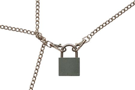 fastened: Padlock with fastened chains isolated on white background