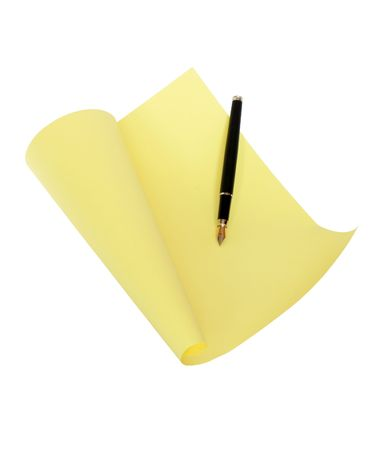 noteboard: Nice yellow papery sheet with fountain pen isolated on white