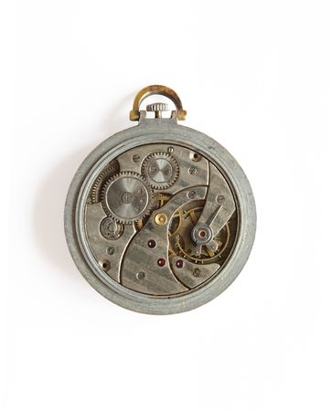 exactness: Vintage old watch with opened mechanism isolated on white background