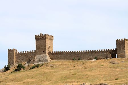 disruption: Nice landscape with disruption of ancient Genoese fortress in Crimea