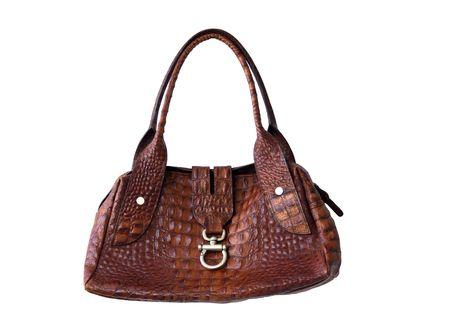 leather woman: Brown leather woman handbag