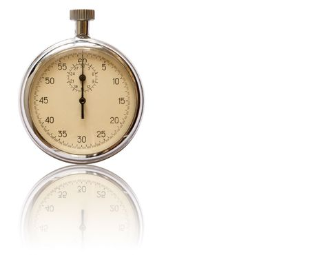 reverberation: Old stopwatch with reverberation isolated on white background  Stock Photo