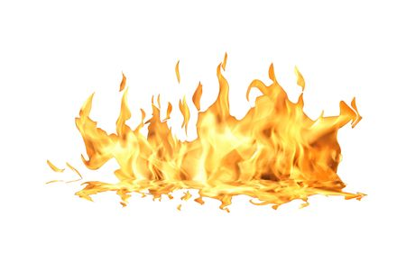 Single fire flame isolated on white background