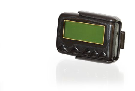 pager: Wireless pager with a blank green screen isolated on white background  Stock Photo