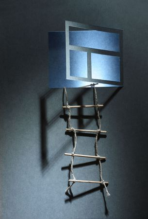 Rope ladder hanging on the wall with open luminous window made from paper Stock Photo - 5606865