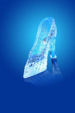Nice glass slippir isolated on gradient blue background photo