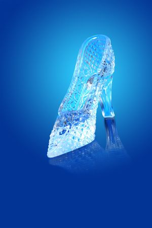 cinderella shoes: Nice glass slippir isolated on gradient blue background Stock Photo