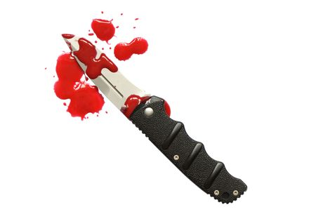 Bloody red blots and knife isolated on white photo