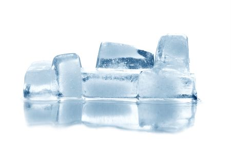 reverberation: Few ice cubes with reverberation. Isolated on white with clipping path