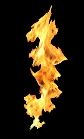 Fire flames isolated on black background   photo