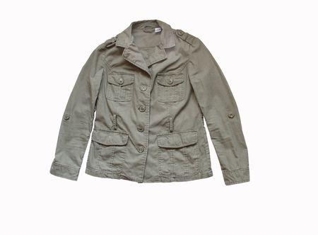dry cleaned: Khaki jacket isolated on white background Stock Photo
