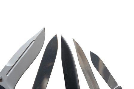 Closeup of few sharp knives photo